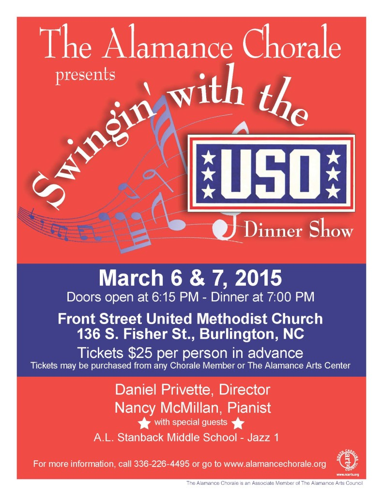 Alamance Chorale Dinner Poster 2015...Swingin with the USO