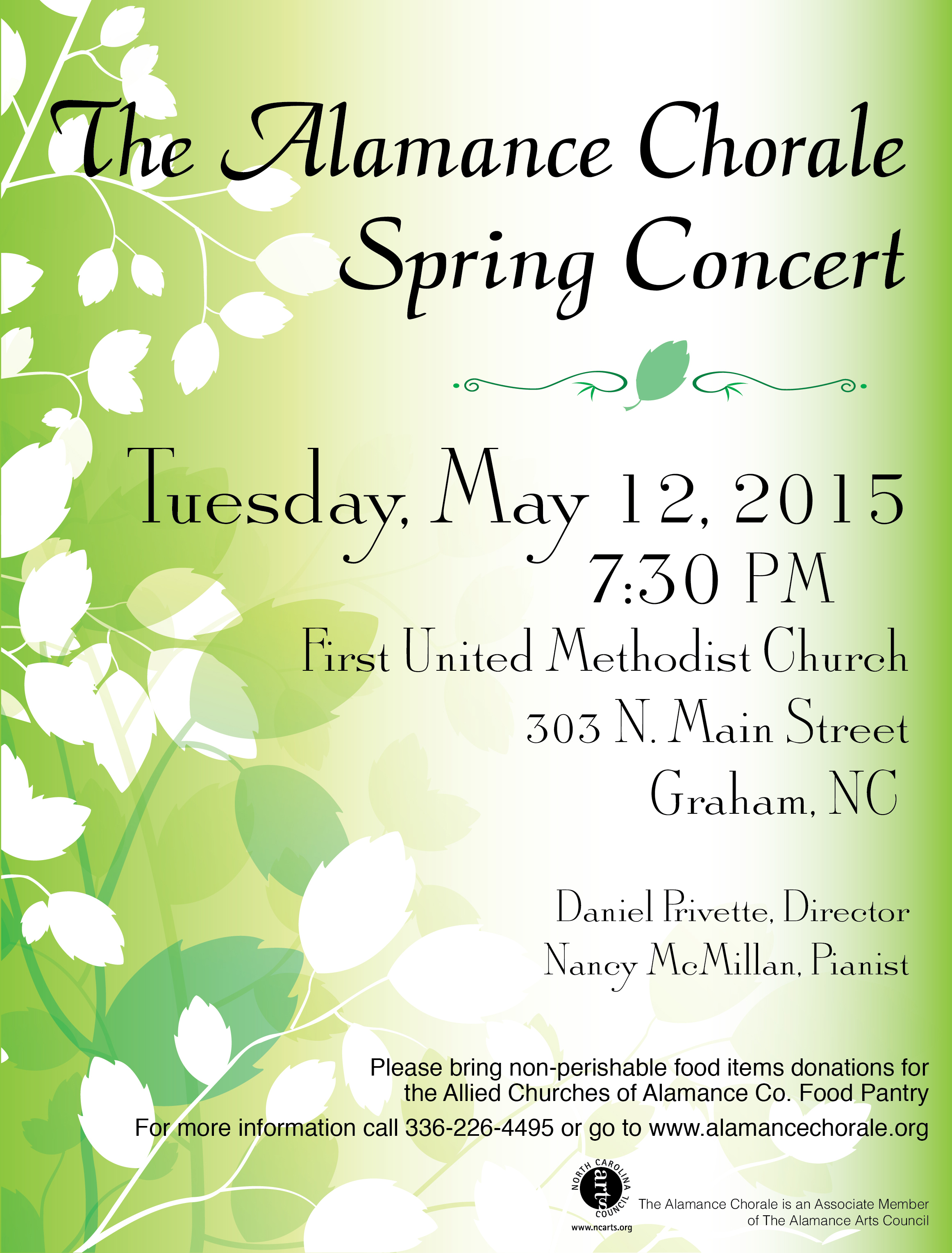 Alamance Chorale May 12, 2015 Spring Concert Flyer Graphic