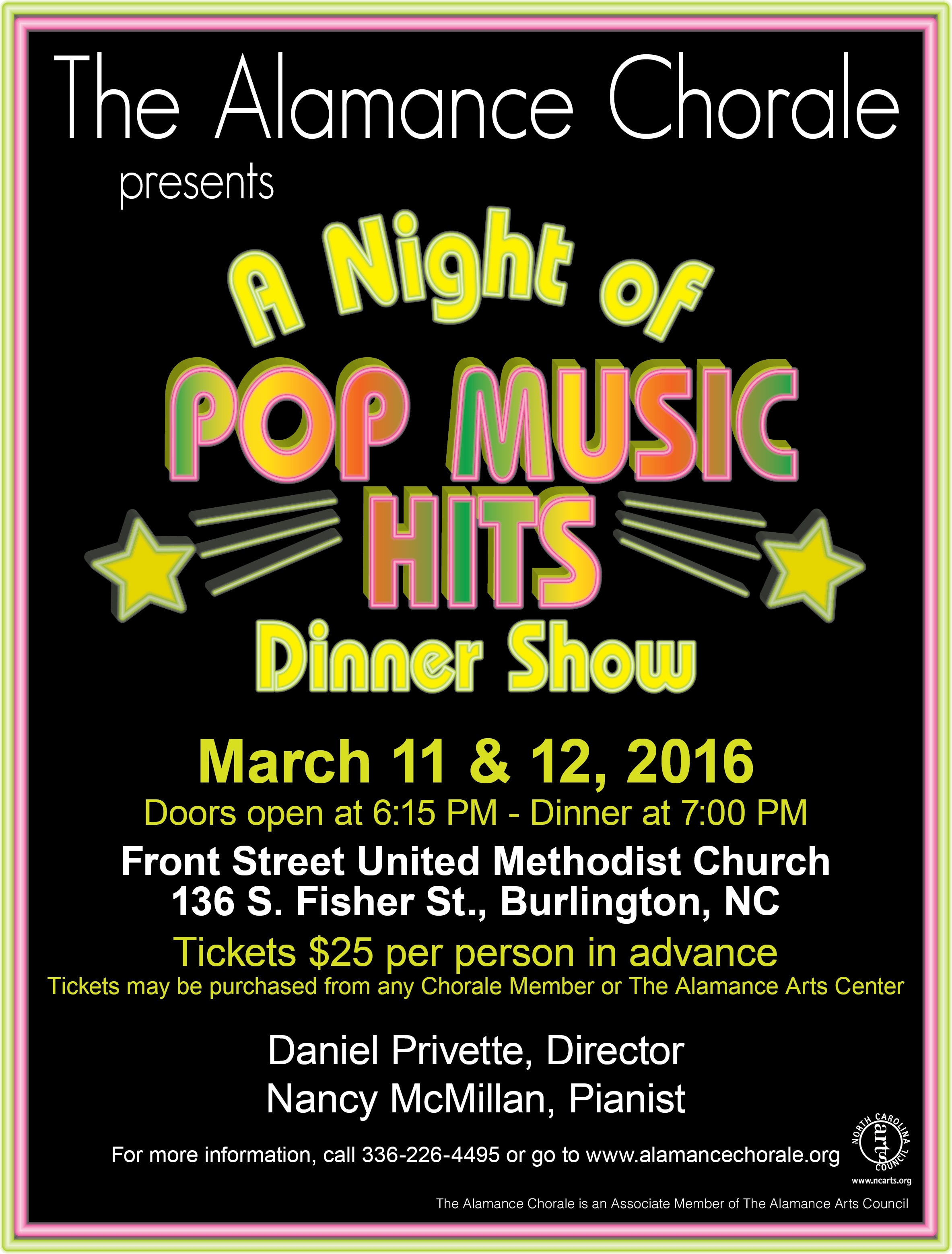A Night of Pop Music Hits...Dinner Show, March 11 & 12, 2016, 7pm ~ Front Street United Methodist, 136 S. Fisher St., Burlington, NC