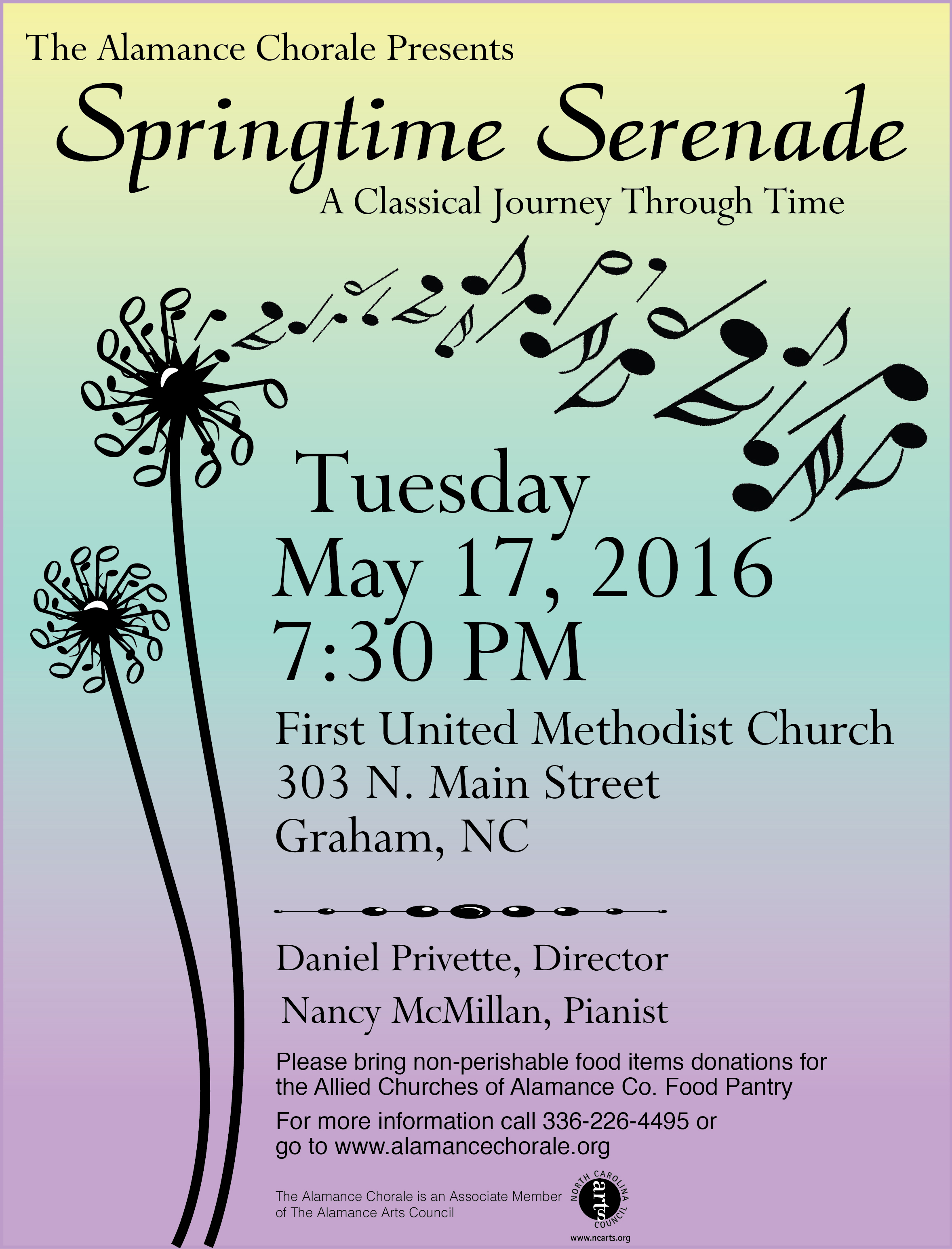 The Alamance Chorale Presents: Springtime Serenade – A Classical Journey Through Time...Tuesday, May 17th at 7:30 pm, First United Methodist Church, 303 North Main St., Graham, NC