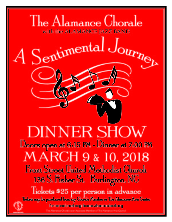 March 2018 dinner show, A Sentimental Journey, Friday & Saturday, March 9th & 10th, 2018... Pick your night! $25 per person in advance...